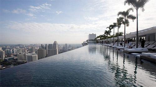 piscine à débordement d'un hotel